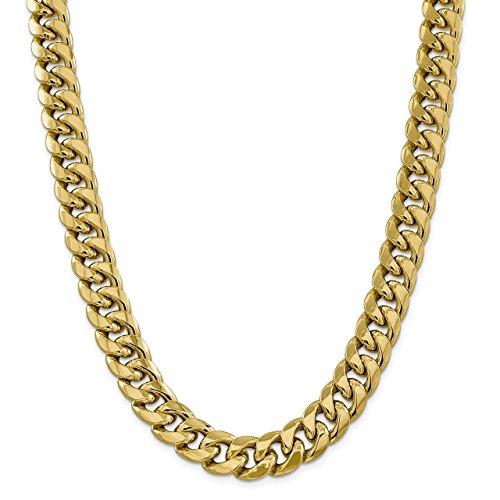 Lex & Lu 14k Yellow Gold 15mm Hollow Miami Cuban Chain Bracelet or Necklace