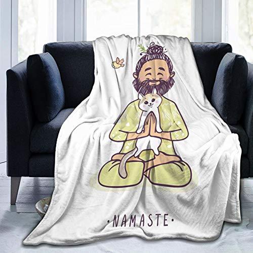 Manta esponjosa, diseño de hombre positivo con gato en yoga, felicitaciones de Namaste, chakra Animal Love Design, ultra suave, manta para dormitorio, cama, TV, cama de 50 x 40 pulgadas