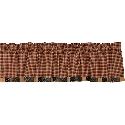 VHC Brands Americana Primitive Kitchen Window Curtains-Patriotic Patch Block Border Valance, Deep Red