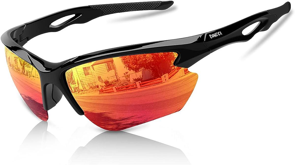BONDDI Gafas de Sol Deportivas, Gafas de Sol Deportivas Polarizadas para Hombre y Mujer, Protección UV400, Montura TR90 Ligera y Envolvente para Ciclismo Pesca Golf Running Conducción Esquí Senderismo