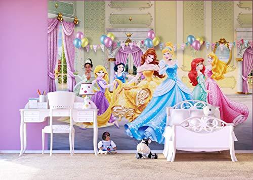 AG Design FTDXXL 2227 Disney Princess Prinzessinen, Papier Fototapete Kinderzimmer- 360x255 cm - 4 teile, Papier, multicolor, 0,1 x 360 x 255 cm