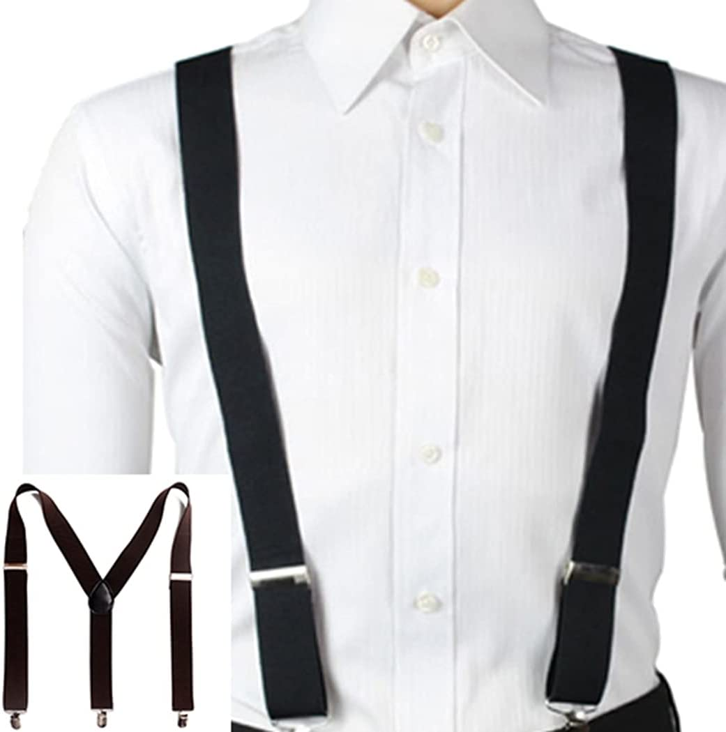 Licogel Simple Boy Men Strong Clips Classic Work Wide Band Casual Y-Back Suspender Classic Elastic Vintage Adjustable