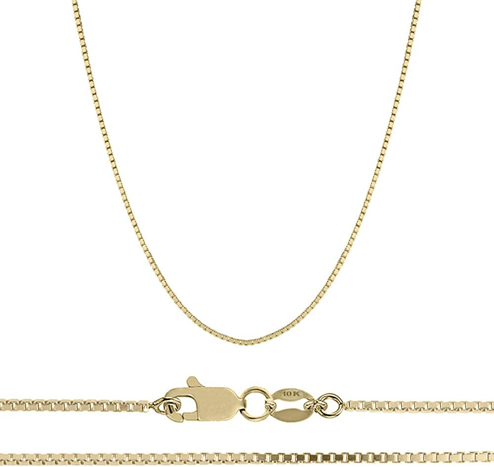 Orostar Genuine 10k Gold 0.8MM Mirror Box Chain for Men & Women | Solid Mirror Box Link Chain Necklace in Yellow Gold | Size 16-24 inches