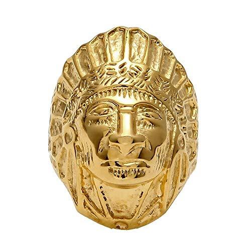 BOBIJOO JEWELRY - El Anillo De Sellar El Hombre Indio De Cabeza De Acero Inoxidable De Oro De Oro Plateada Cabeza Maciza Padre - 22 (10 US), Dorado - Acero Inoxidable 316