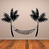 Etiqueta de la pared de vinilo Durable negro playa impresa hamaca...