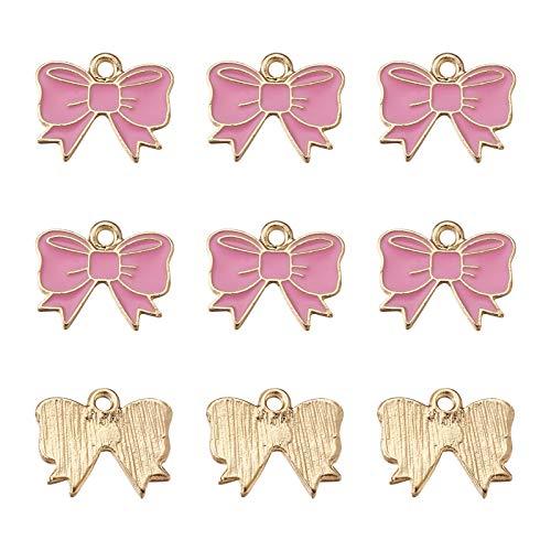 Craftdady 40 colgantes de esmalte rosa con lazo, aleación de metal, cinta de mariposa, lazo, perlas colgantes para pulsera, pendientes, joyería