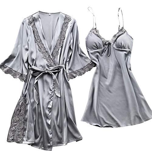 RISTHY Lencería Erotica de Mujer,Ropa de Dormir 2 Piezas Batas Sexy Conjunto Pijamas Vestidos Cortos Aspecto Brillante Camisón de Encaje de Lencería de Seda Traje de Tirantes de Satén