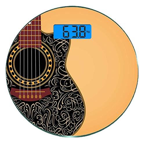 Digitale Präzisionswaage für das Körpergewicht Runde Gitarre Ultra dünne ausgeglichenes Glas-Badezimmerwaage-genaue Gewichts-Maße,Clipped Guitar mit Vintage Floral Folk Ornamenten Musiker Hobbies,Burn