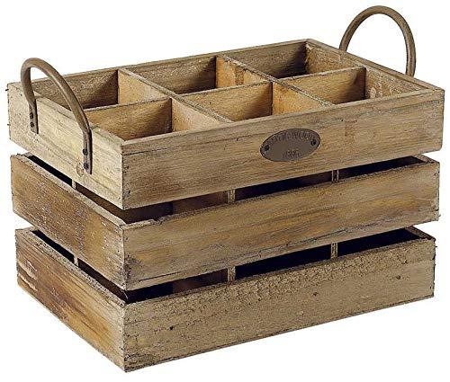 Aubry Gaspard Kiste mit 6 Fächern, antikes Holz