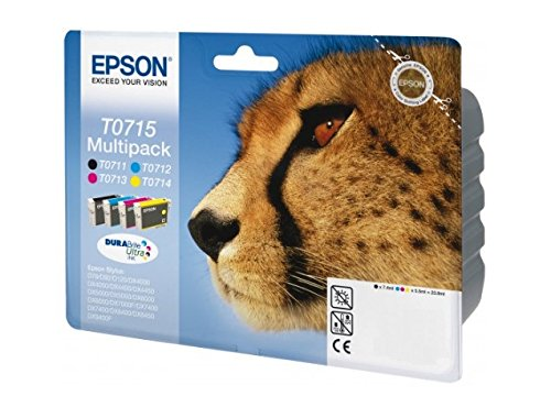 Epson Original T0715 Tinte Gepard, wisch- und wasserfeste (Multipack, 4-farbig) (CYMK)