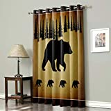 Blackout Curtain Room Darkening Window Curtain Retro Polar Bears Animals With Rustic Forest On Vintage Brown Old Background Grommet Thermal Insulated Room Curtain for Wall Decor Home Decor- 54x63Inch