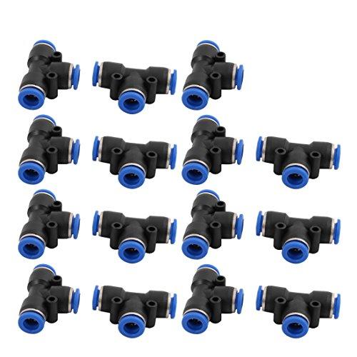 sourcingmap 15uds 8mm de Diám. Conexión Rápida Conector de Empuje Impulso Tipo T 3 Salidas de Manguito de Aire Neumática