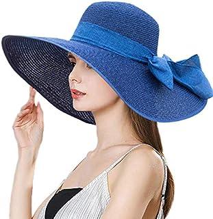 Women Big Bowknot Sun Straw Hat Wide Brim, Foldable Roll up Beach Cap UPF 50+ [Blue]
