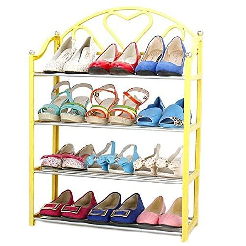 Kuingbhn Zapatero de 4 niveles apilable zapatos exhibición organizador estante estante estante unidad estantes para entrada sala de estar