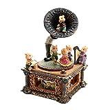 BIAOYU Caja de música retro gramófono caja de música de resina con manivela enrollada caja musical con máquina interna regalos creativos para Navidad/cumpleaños/Día de San Valentín (color a: A)