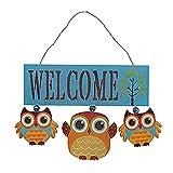 Cartel de bienvenida para colgar, puerta de entrada, letreros de madera de búhos para jardín y placas de bienvenida, coronas de decoración del hogar, diseño de búho vintage, adorno decorativo de mader