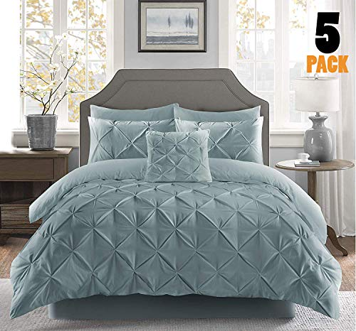 Fixtex Pinch Pleat Pintuck Duvet Cover Set with Fitted Sheet & Pillow Cases Includes Complementary Cushion Cover – Set of 5 (Duck Egg, King)
