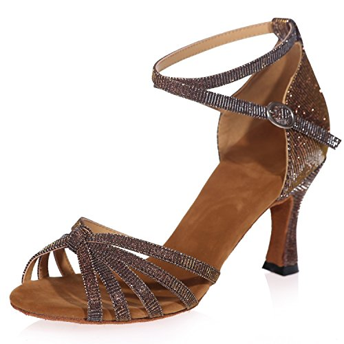 Zapatos De Baile De TacóN Cubano para Mujer Zapatos Latinos para Mujer Plataforma De Hebilla Helada Jazz Glitter SalóN De TacóN Alto/TacóN De 7.5 Cm