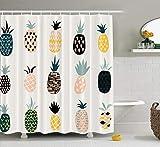 ASOCO Ananas-Duschvorhang, süß mit Ananas-Muster, Obst, tropisch, Orange, Lebensmittel, Badezimmer, Duschvorhänge, wasserdicht, Haken-Set, 183 x 198 cm