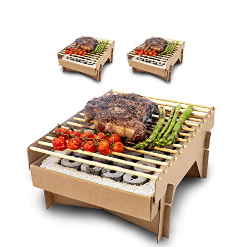 Meateor Öko Einweggrill, komplett aus natürlichen Materialien, nach Gebrauch Fast vollständig verbrennbar, weniger CO2 Emission, in 5 Minuten startklar, über 1 Stunde nutzbar, 3 Stück