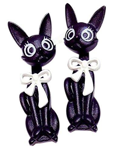 Boucles d'oreilles créatives et individuelles Boucles d'oreilles exagérées de chat dessinée, blanc