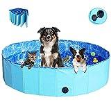 JJOBS Piscina para Perro Bañera Plegable para Perros Gatos Mascotas, Natacion al Aire Libre, Material de PVC- Azul(M:80 * 30cm)