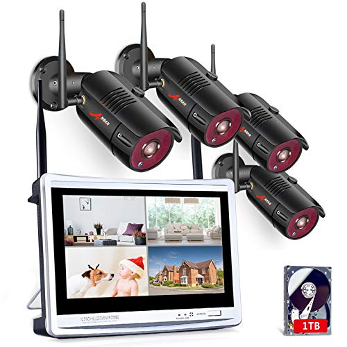 "[All-in-One Pre-install 1tb HDD] ANRAN Wireless Security Camera System,Home Business 12"" LCD 4CH 1080P Monitor NVR Kit with 4pcs 2MP Wifi Outdoor Bullet IP Cameras Night Vision Email Alert Remote View"
