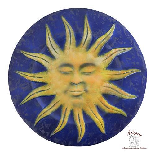 ARTEPACO - Piatto da Parete Sole, Decorazione Casa, in Ceramica, Abbellimento Casa e Giardino, Diametro 25 cm