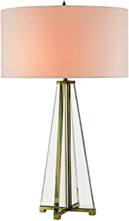 Currey Company 6557 Table Lamp with Off White Shantung Shades, Brass and Clear Optic Crystal Finished
