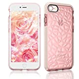 LCHULLE Clear Case for iPhone SE 2020 iPhone 8 iPhone 7 Cover Super Fashion 3D Diamond Pattern Soft TPU Case Lovely Back Rubber Shell Transparent Crystal Protective Girly Bumper Cases Covers, Pink