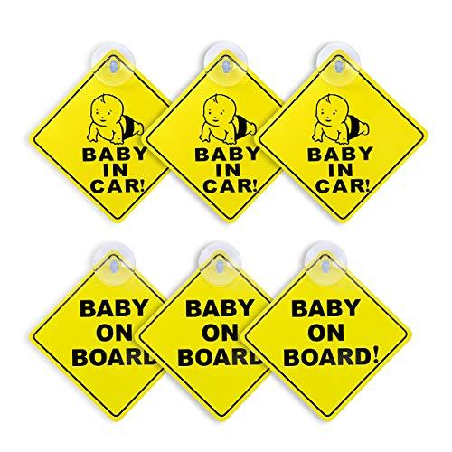 Baby an Bord Autoaufkleber, AIEVE 6 Stück Auto Aufkleber Kind Autokleber Baby Schilder Sicherheitsschilder mit Suagnapf für Auto Kinder Sicherheit Baby(Gelb)
