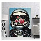 Impresión de arte de pared póster lienzo pintura rosas en los ojos de los astronautas imágenes papel tapiz HD para habitación de niños decoración del hogar-20X28 pulgadas