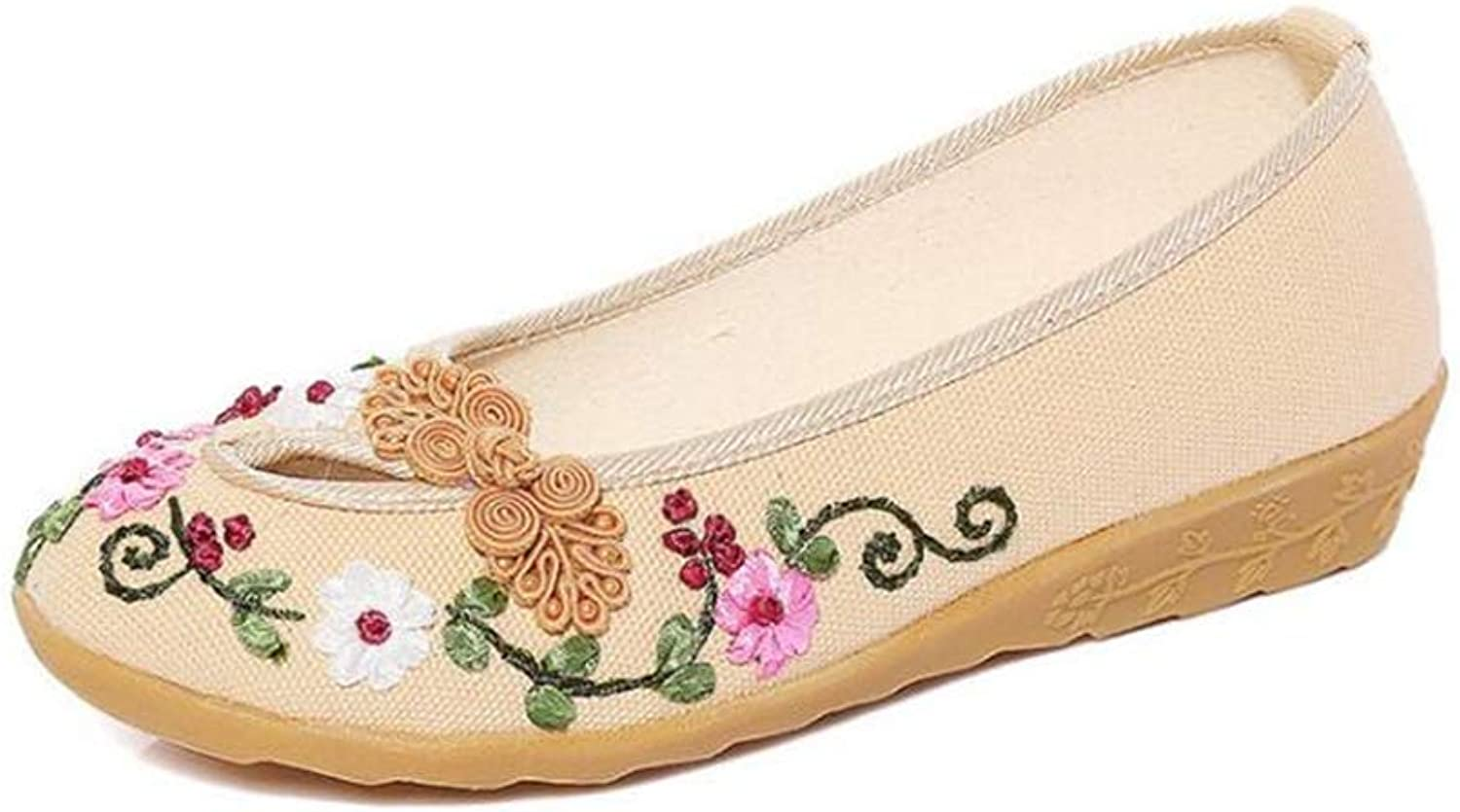 F1rst Rate Embroidered shoes for Women Casual Slip on Round Toe Classic Walking shoes