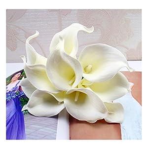 tutu.vivi 10pcs Calla Lily Bridal Wedding Bouquet Head Latex Real Touch Artificial Flower Home Party Wedding Decor Ivory