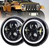 7 Inch Round LED Headlight Hi/Lo Beam with White DRL Halo Ring Angel Eyes H6024 Amber Turn Signal Light Sealed Beam Headlamps for Jeep Wrangler JK TJ CJ , Hummer H1 H2 with H4-H13 Adapter 2Pcs