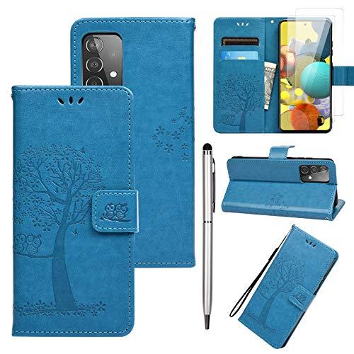 Promixc Kompatibel mit Samsung Galaxy A52 5G Hülle, Galaxy A52 5G Wallet Case mit gehärtetem Glas Folie & Stift PU Leder Ständer Kartenfächer Flip Cover für Samsung Galaxy A52 5G - Blau