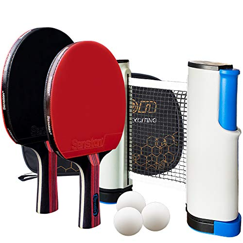 Senston Palas Ping Pong, Pelotas Ping Pong Set+ Red Retráctil, 2 Raquetas de Tenis de Mesa + 3 Pelotas + 1 Bolsa,el Entrenamiento/Kit de Raqueta recreativa