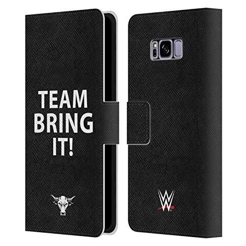 Head Case Designs Oficial WWE ¡Equipo, tráelo! La Roca Carcasa de Cuero Tipo Libro Compatible con Samsung Galaxy S8+ / S8 Plus