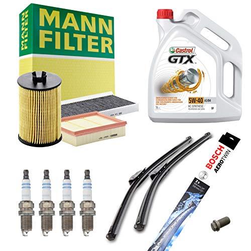 Inspektionspaket MANN-FILTER + 5L Castrol GTX 5W40 + 4 Zündkerzen + Wischer SET...