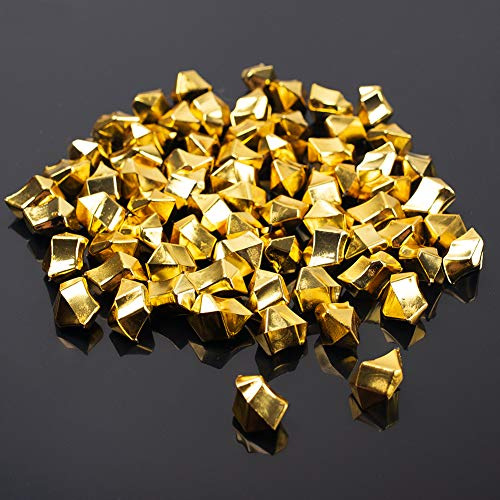 DomeStar Fake Ice, 150PCS 2.5Cups Gold Acrylic Ice Fake Plastic Gold Nuggets Gold Rocks Gems Marble Vases Fillers Table Scatter Decoration