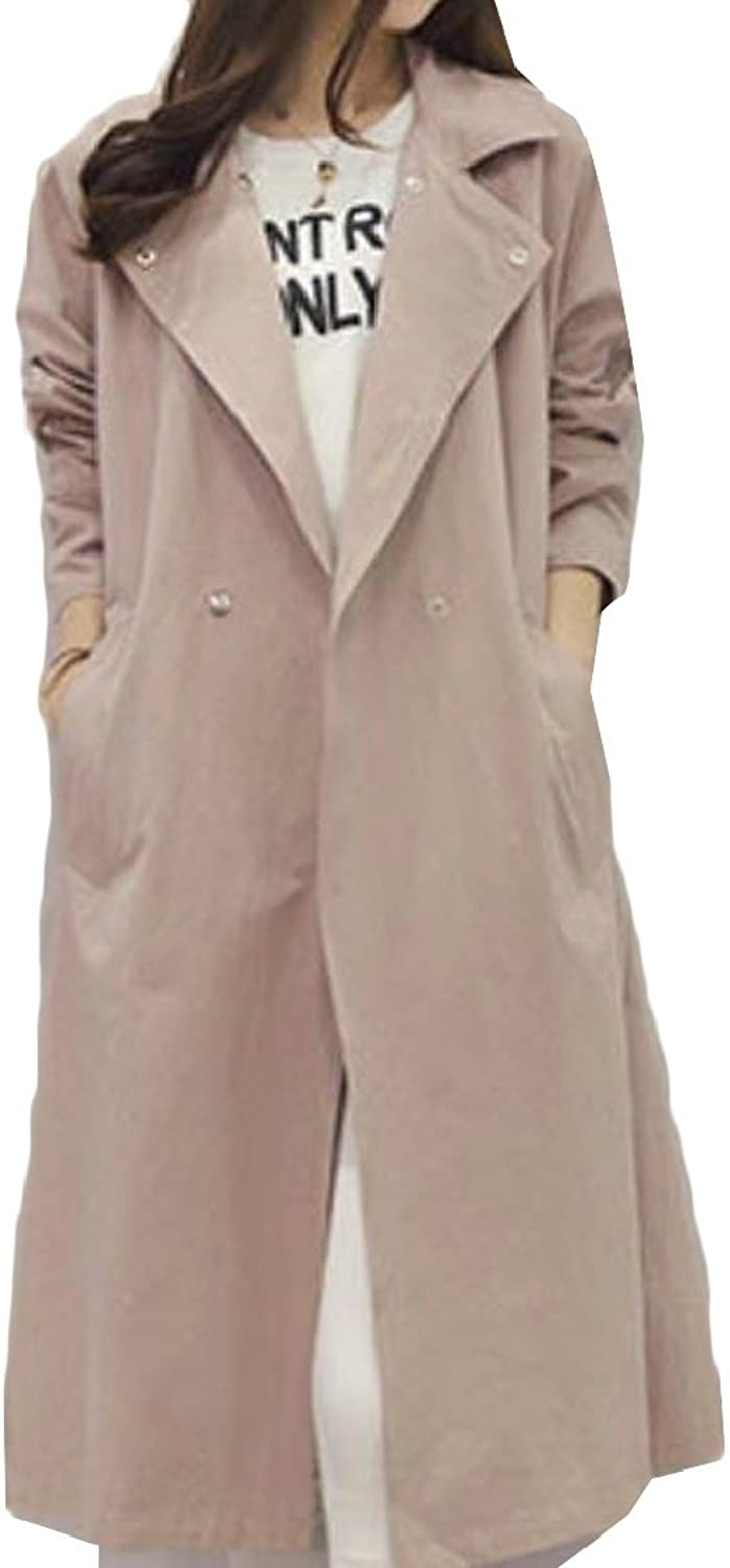 Jxfd Women's Summer Solid color DoubleBreasted Trench Coat Jackets with Belt