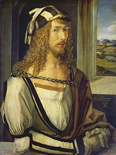 Artland Alte Meister Wandbild Albrecht Dürer Selbstbildnis mit Landschaft Leinwand Bilder 80 x 60...