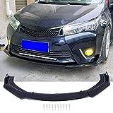 1 Set Front Bumper Lip Body Kit Spoiler Universal Fit, Black with Carbon Fiber Pattern