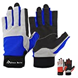 Brace Master Sailing Gloves Men Women for Sailing, Fishing, Boating, Kayaking, Surfing, Canoe Padding, Dinghy and Water Sports, Leather in Palm to Enhance Gripping (Dark Blue, Small)
