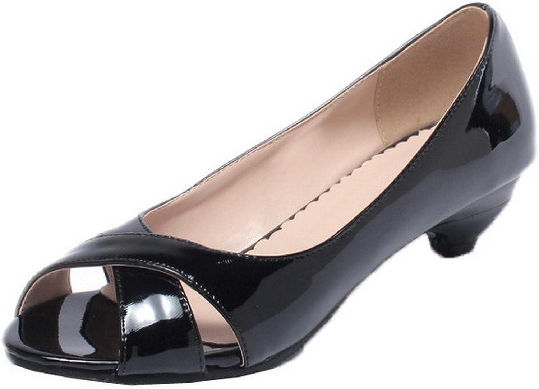 WeenFashion Women's Patent Leather Peep-Toe Low-Heels Solid Sandals, CA18LA03573