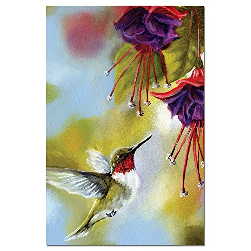 """Tree-Free Greetings EcoNotes Stationary- Blank Note Cards with Envelopes, 4"""" x 6"""", Ruby and Fuschia, Bird Themed, Boxed Set of 12 (FS66510)"""