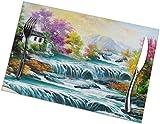 Set di 6 tovagliette con stampa Waterfall Mountain Stream, facili da pulire, resistenti, antiscivolo, resistenti al calore (45,7 x 30,5 cm)