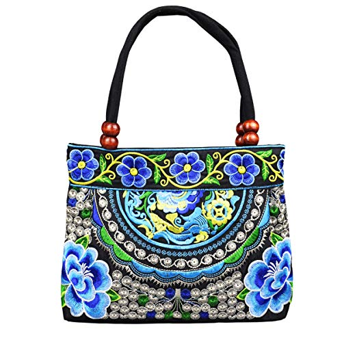 Women's Unique Vintage Hobo Tote Bags Embroidered Floral Shoulder Handbags for lady (APPLE-BLUE), Medium