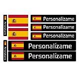 Kit 9 Adhesivos con Bandera y Texto Personalizables para Bicicletas, Motos, Coches y Otros Objetos. (Color)