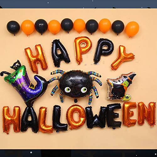 Halloween Balloon Decoration-Happy Halloween Banner Latex Balloons Glitter Ballon Spider Cat Bat Mylar Balloons
